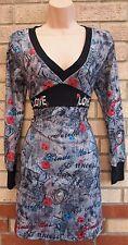 KURT MULLER WOMAN GREY ABSTRACT FUNKY FLORAL LOVE JUMPER SKATER TEA DRESS 12 M