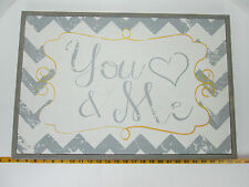 You & Me Sign Heart Gray/White/Yellow Chevron Distressed Finish Shabby Chic S