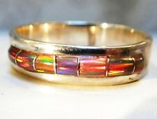 Ladies Channel Red Fire Opal & Sterling Ring 9 Sterling Silver 925 Men's unisex