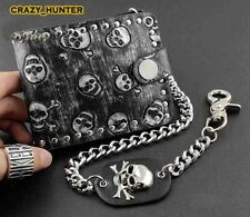 Fashion Rock Punk Metal Skull Money Black Men's Leather Wallet With A Chain
