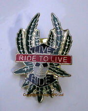 ZP74 Ride to Live Biker Motorcycle Lapel Pin Badge Hardcore Skull