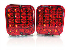 "(2) Trailer Truck Red LED Surface Mount 5"" Square Stop Turn or Tail Light Sealed"