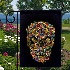 Fauna Flora Skull New Black Small Garden Flag Gothic Cool