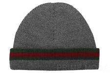 NEW GUCCI LUXURY WOOL SILK GRAY  WEB DETAIL SKULL BEANIE HAT M
