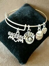 Expandable Silver Colored Handmade Bangle Charm Bracelet  BASEBALL MOM