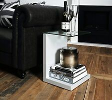 Side End Table Coffee Wood Living Room Furniture Glass Top White Small Modern 2