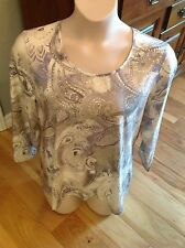CHICO'S 3 White Gray Silver Metallic Embedded in Fabric 3/4 Sleeve Blouse NWOT