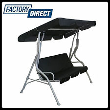 NEW BLACK 3 SEAT SWING CHAIR GARDEN BENCH OUTDOOR HANGING CANOPY ROOF PATIO BED