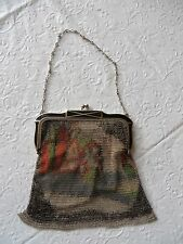 Vintage Antique 1920's Dresden Enamel Mesh Bag Purse Whiting & Davis Cottage