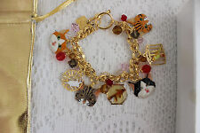 "LUNCH AT THE RITZ 2GO BRACELET KITTY CAT 7.5"" TOGGLE CHARM BRACELET"