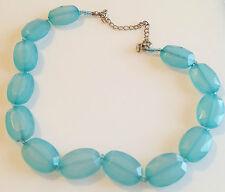 collier rétro en perle a facette de couleur bleu aigue marine 284