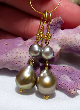 GORGEOUS 18K GOLD AAA SEA OF CORTEZ COPPER RAINBOW CULTURED PEARL EARRINGS KESHI