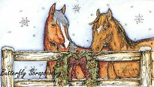 CHRISTMAS HORSES & FENCE SCENE Wood Mounted Rubber Stamp NORTHWOODS NN10147 New