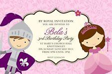 Personalizzata Inviti Compleanno Cavaliere e principessa partito X 5