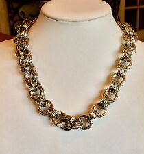 """IMAN GLOBAL CHIC"" BOLD 21"" SILVERTONE CHAIN TOGGLE NECKLACE FABULOUS!!"
