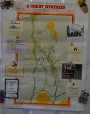 Vintage Great Wineries California's North Coast Map #9 Poster Advertising Wine