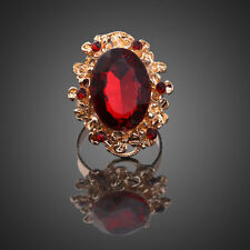 Luxury Vintage Women Gold Plated Red Rhinestone Crystal Oval Finger Ring