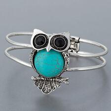 Silver Vintage Antique Owl Design Turquoise Statement Fold Over Bracelet