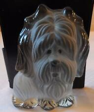 Viking Frosted Glass Crystal Yorkie Dog Figurine Paperweight w/Label
