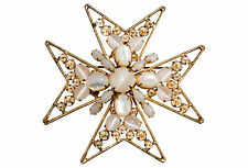 Schreiner Maltese Cross Brooch Pin Mother of Pearl Cabochon Inverted Rhinestones