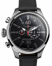 Chotovelli Men's Military Pilot Watch Chronograph Italian Black Leather 52.13