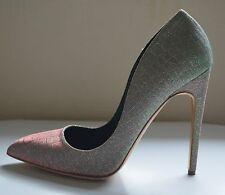 Brand New! Rupert Sanderson Elba metallic grey high heel pumps UK7/EU40