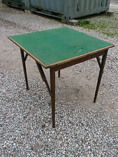OLD FASHIONED VINTAGE FOLDING BRIDGE, WHIST, POKER, GREEN BAIZE CARD TABLE