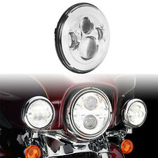 "7"" Motorcycle Chrome Projector Daymaker LED Light Headlight For Harley Touring"