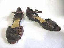 "CIRCA, JOHN & DAVID, CROC STYLE LEATHER OPEN TOE 1 1/2"" HEEL, 7 M"