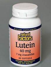 Lutein 40MG with 7MG Zeaxanthin 60 Softgels by Natural Factors Free Shipping!