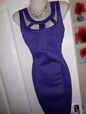 **STUNNING** AX PARIS SIZE 12 PURPLE CUT OUT BODYCON WIGGLE DRESS *FAST POSTAGE*