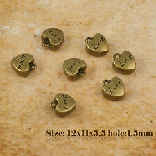 "5 Antique Vintage Bronze Heart ""Love"" Charms Pendant 014"