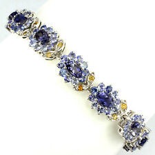 LUXURY NATURAL BLUE VIOLET IOLITE-TANZANITE-CITRINE STERLING 925 SILVER BRACELET