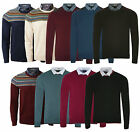Kensington New Mens Shirt Insert Collar Crew Neck Jumper Smart Sweater Pullover