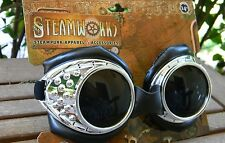 SteamPunk Silver/ Black Radioactive Aviator Goggles padded Cyberpunk Cosplay NEW