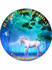 "UNICORN - DESIGN 3  PERSONALIZED 7.5"" CIRCLE ICING CAKE TOPPER"