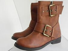 Aldo Womens Cognac Double Buckle Moto Ankle Boots Shoe Size 7