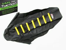 SUZUKI RMZ450 2008 2009 2010 RIBBED SEAT COVER BLACK WITH YELLOW STRIPES RIBS