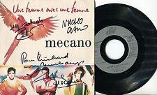 3 Autographes du Groupe MECANO sur pochette EP 45T