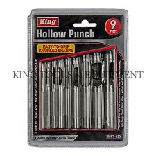 KING 9pc Heavy-Duty HOLLOW HOLE PUNCH SET, Gasket Vinyl Plastic Rubber Leather
