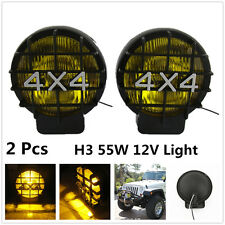 "2 x 55W 5.5"" Yellow Driving Halogen Fog Light Lamp Spotlight 12V 4WD OffRoad Car"