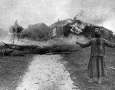 "Russian Woman watches her home burn 8""x 10"" World War II WW2 Photo 507"