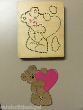 WOODEN DIE CUTTER-Scruffy Heart Bear, Use in Sizzix Big Shot, VERY RARE!!!