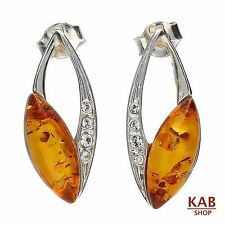 COGNAC BALTIC AMBER STERLING SILVER 925 JEWELLERY BEAUTY STUD EARRINGS. KAB-K34
