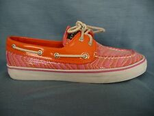 SPERRY Top-Sider 7.5M Boat Shoes Flats Orange Patent Leather Pink Beaded Sparkly