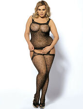 SEXY BLACK ANIMAL PRINT OPEN CROTCH BODYSTOCKING BODYSUIT PLUS SIZE UK 14-22