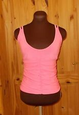 neon flamingo pink stretch gathered strappy ring back party top S-M 8-10