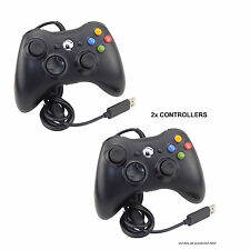 2x Negro Controlador USB con cable para MICROSOFT XBOX 360 PC WINDOWS LAPTOP DESKTOP