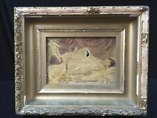 ANTIQUE NUDE GIRL CHERUB OIL ON CANVAS SIGNED MOORE, GESSO. NEED RESTORATION