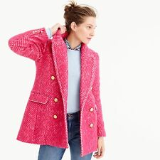 $345 NWT J CREW DIAMOND TWEED JACKET PEACOAT ,COAT  SIZE-4 #F5430 PINK